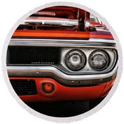 1972 Plymouth Road Runner Round Beach Towel