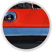 1972 Plymouth Road Runner Hood Emblem Round Beach Towel by Jill Reger