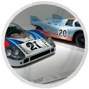 1972 Porsche 917 Lh Coupe And 1970 Porsche 917 Kh Coupe Round Beach Towel