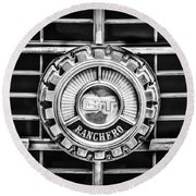 1973 Ford Ranchero Grille Emblem -0769bw Round Beach Towel