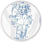 1973 Nasa Astronaut Space Suit Patent Art 2 Round Beach Towel