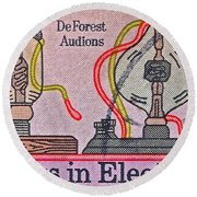 1973 Progress In Electronics Stamp Round Beach Towel