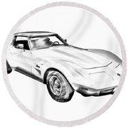 1975 Corvette Stingray Sports Car Illustration Round Beach Towel