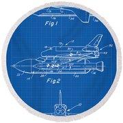 1975 Nasa Space Shuttle Patent Art 1 Round Beach Towel