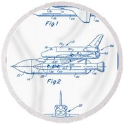 1975 Nasa Space Shuttle Patent Art 2 Round Beach Towel