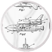 1975 Nasa Space Shuttle Patent Art 3 Round Beach Towel