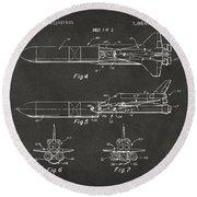 1975 Space Vehicle Patent - Gray Round Beach Towel