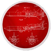 1975 Space Vehicle Patent - Red Round Beach Towel by Nikki Marie Smith