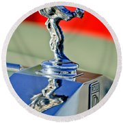 1976 Rolls Royce Silver Shadow Hood Ornament Round Beach Towel