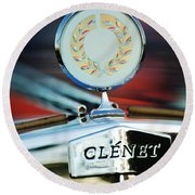 1979 Clenet Hood Ornament -176c Round Beach Towel