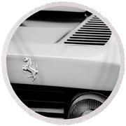 1979 Ferrari Taillight Emblem -0378bw Round Beach Towel