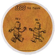 1979 Lego Minifigure Toy Patent Art 5 Round Beach Towel