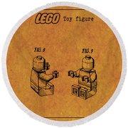 1979 Lego Minifigure Toy Patent Art 6 Round Beach Towel