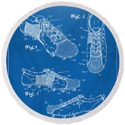 1980 Soccer Shoes Patent Artwork - Blueprint Round Beach Towel