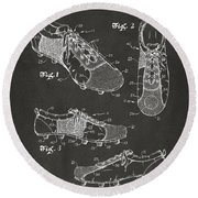 1980 Soccer Shoes Patent Artwork - Gray Round Beach Towel