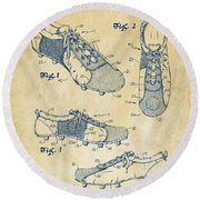 1980 Soccer Shoes Patent Artwork - Vintage Round Beach Towel