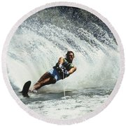 1980s Man Waterskiing Making Fan Round Beach Towel