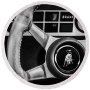 1982 Lamborghini Countach 5000s Steering Wheel Emblem -1549bw Round Beach Towel