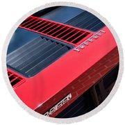 1984 Ferrari 512 Bbi By Pininfarina Rear Emblems -0822c Round Beach Towel