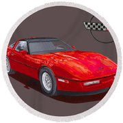1986 Corvette Round Beach Towel