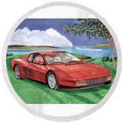 1987 Ferrari Testarosa  Round Beach Towel