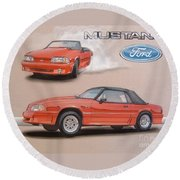 1991 Ford Mustang Round Beach Towel