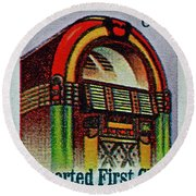 1995 Jukebox Stamp Round Beach Towel
