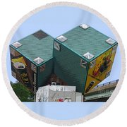 1996 Cube Houses On Eastern Avenue Round Beach Towel