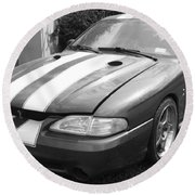1996 Mustang Cobra In Black And White Round Beach Towel