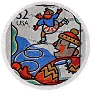1996 Winter Skaters Stamp Round Beach Towel
