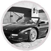 1997 Ferrari F 355 Spider -008bw Round Beach Towel