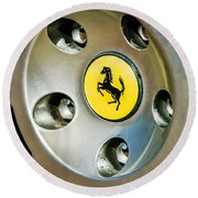 1997 Ferrari F 355 Spider Wheel Emblem -201c Round Beach Towel