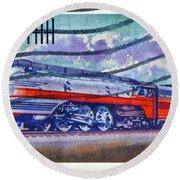 1999 Hiawatha Train Stamp Round Beach Towel