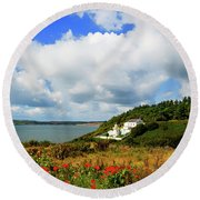 19th Century Duncannon Lighthouse Round Beach Towel