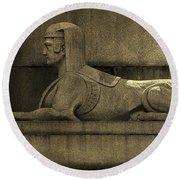 19th Century Granite Stone Sphinx Sepia Profile Poster Look Usa Round Beach Towel