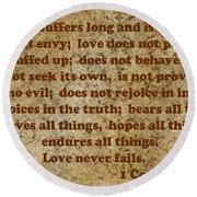 1st Corinthians 13 Verses 4-7 Round Beach Towel