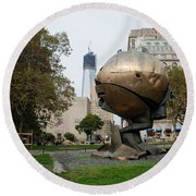 1w T C And The W T C Fountain Sphere Round Beach Towel