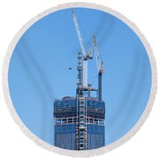 1wtc Antenna Erection Round Beach Towel