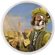 Tibetan Spaniel Art Canvas Print Round Beach Towel