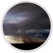 052913 - Severe Storms Over South Central Nebraska Round Beach Towel