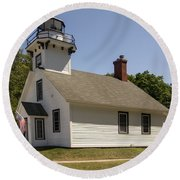1870 Mission Point Lighthouse Round Beach Towel