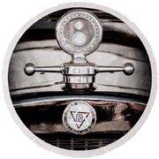 1928 Dodge Brothers Hood Ornament - Moto Meter Round Beach Towel