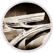 1937 Chevrolet 2 Door Sedan Hood Ornament Round Beach Towel