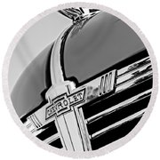 1938 Chevrolet Coupe Hood Ornament -0216bw Round Beach Towel