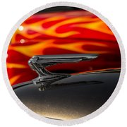 1939 Graham Coupe Hood Ornament Round Beach Towel by Ron Pate