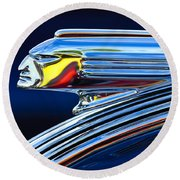 1939 Pontiac Silver Streak Chief Hood Ornament Round Beach Towel