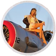 1940s Style Aviator Pin-up Girl Posing Round Beach Towel