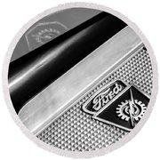 1949 Ford F-1 Pickup Truck Step Plate Emblem -0043bw Round Beach Towel