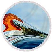 1950 Pontiac Hood Ornament Round Beach Towel by Jill Reger