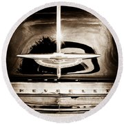 1954 Chevrolet Deluxe Grille Emblem Round Beach Towel
